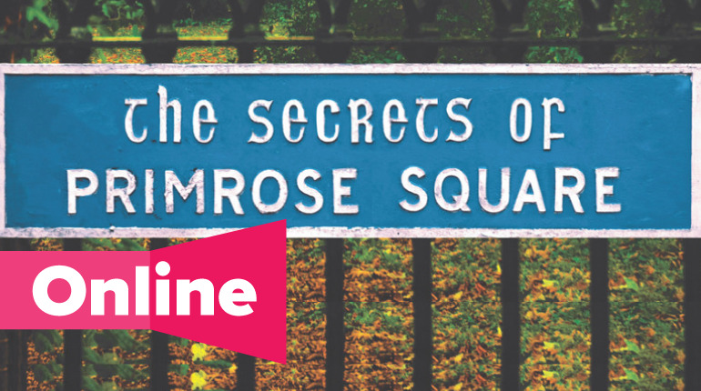 Sign withe the text The Secret of Primrose Square. Fence and green bushes.